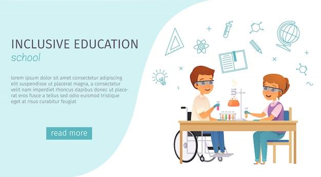 Bannière De Dessin Animé De L'éducation Inclusive Inclusion Avec Le Titre De L'école Et Le Bouton Bleu Lire Plus Vecteur gratuit