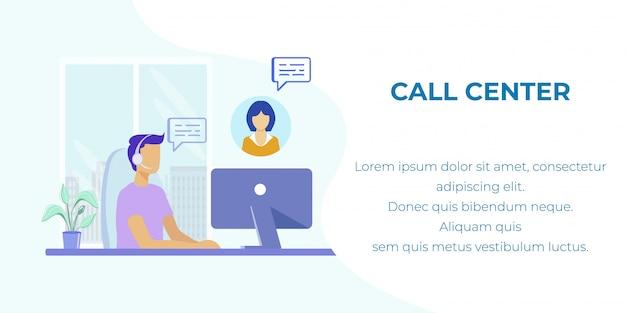 Bannière de dessin animé faisant la promotion d'un centre d'appels et d'une ligne directe Vecteur Premium