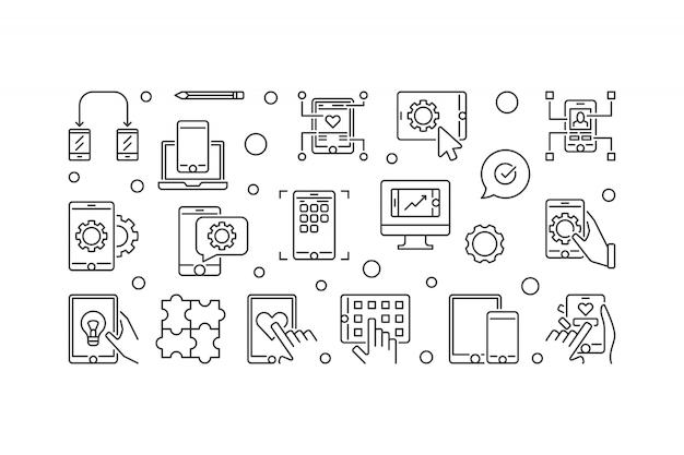 Bannière de développement d'applications mobiles Vecteur Premium