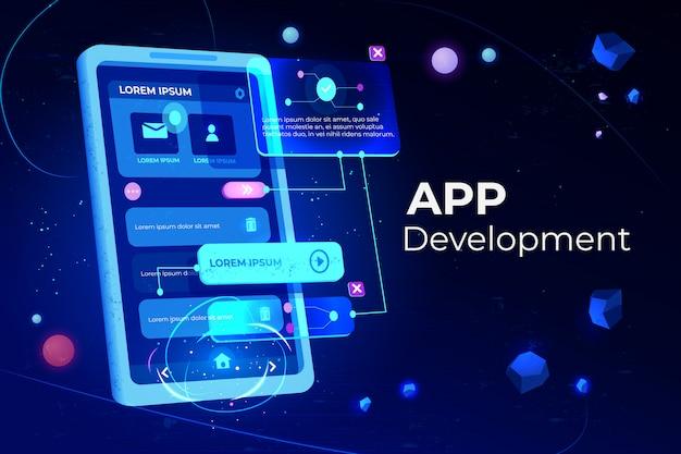 Bannière de développement d'applications Vecteur gratuit