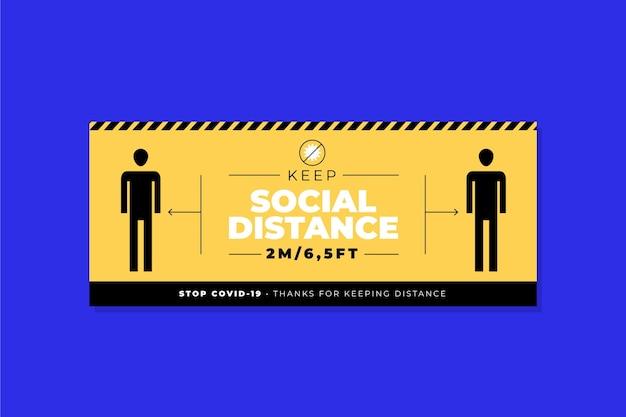 Bannière De Distance Sociale Vecteur Premium