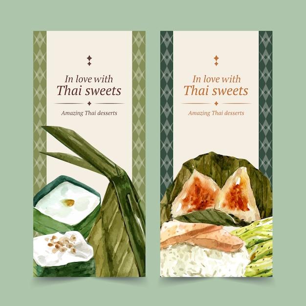 Bannière Douce Thaï Avec Du Riz Gluant, Illustration Aquarelle De Crème Aux œufs. Vecteur gratuit