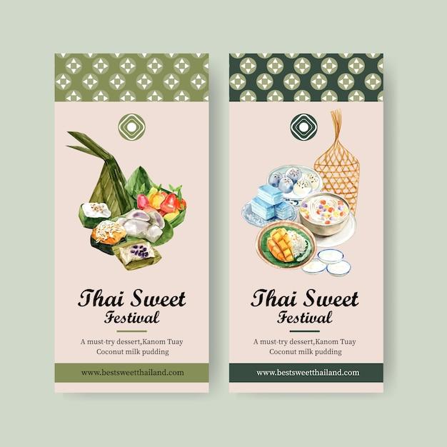 Bannière douce thaï avec la pâte de la pyramide, illustration aquarelle de fruits imitations. Vecteur gratuit