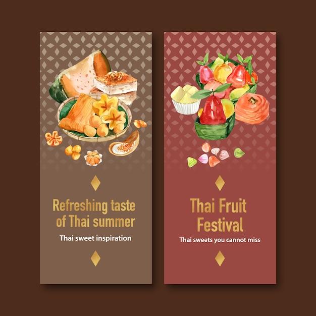 Bannière Douce Thaïlandaise Avec Crème Thaïlandaise, Illustration Aquarelle Fruits Imitations. Vecteur gratuit