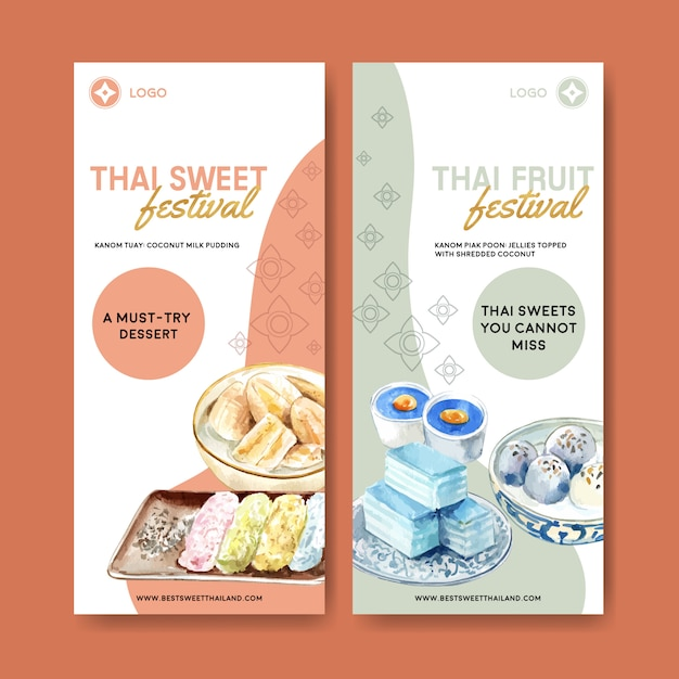 Bannière Douce Thaïlandaise Avec Pudding, Illustration Aquarelle De Gelée En Couches. Vecteur gratuit