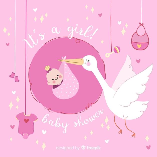 Bannière de douche de bébé Vecteur gratuit
