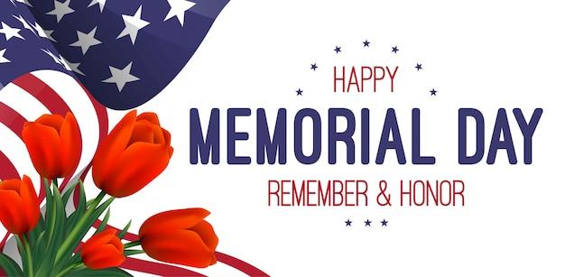 Bannière avec drapeau américain et tulipes. jour du souvenir. Vecteur Premium