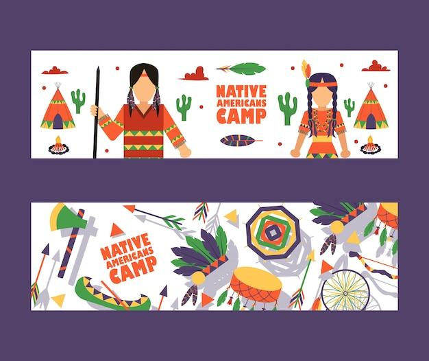 Bannière du camp amérindien, invitation au camp d'été pour enfants à la mode indienne Vecteur Premium