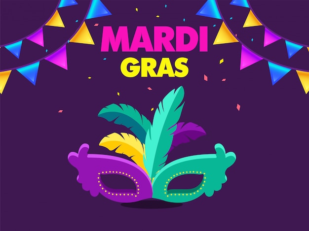 Bannière du carnaval de venise pour mardi gras Vecteur Premium