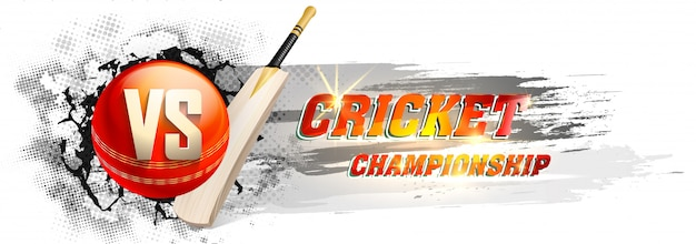 Bannière du championnat de cricket Vecteur Premium