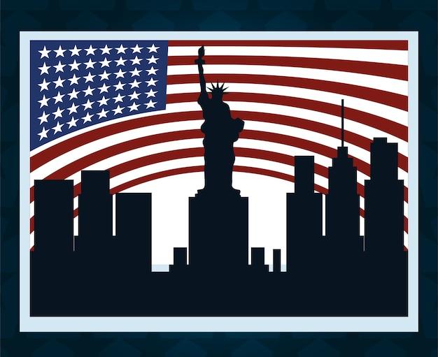 Bannière Du Drapeau Américain De La Ville De New York, Vote Politique Et élections Aux états-unis Vecteur Premium