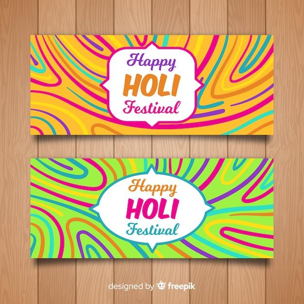 Bannière Du Festival Holi Dessiné à La Main Vecteur gratuit