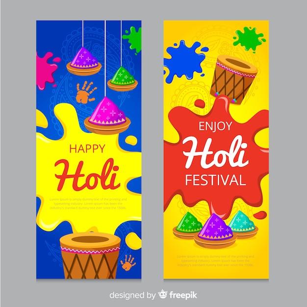 Bannière du festival de holi plat Vecteur gratuit