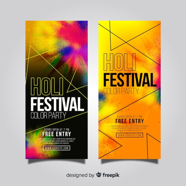 Bannière du festival holi réaliste Vecteur gratuit