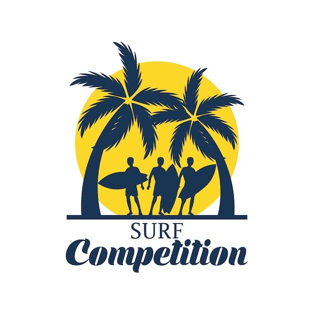 Bannière du festival de surf pour la compétition de surf. illustration vectorielle Vecteur gratuit