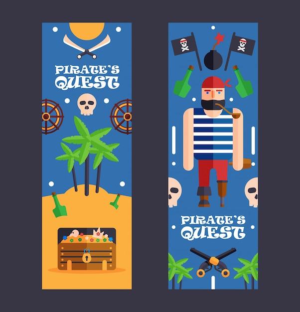 Bannière Du Jeu De Quête De Pirate événement D'activité Amusant Pour Les Enfants Vecteur Premium