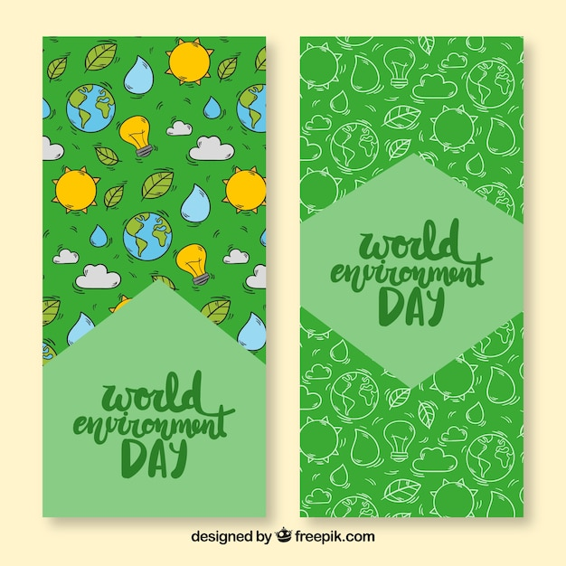 Bannière du jour de l'environnement mondial avec le motif du soleil et de la terre Vecteur gratuit