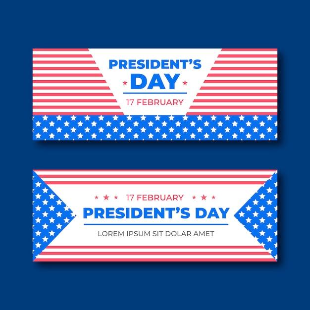 Bannière Du Jour Du Président Plat. Vecteur Premium