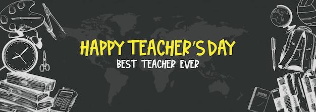 Bannière du jour du professeur heureux Vecteur Premium