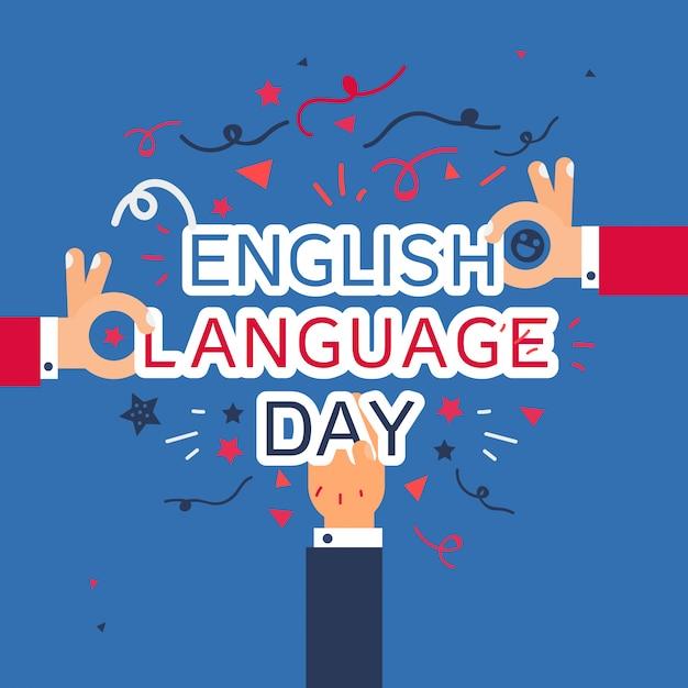 Bannière du jour de la langue anglaise Vecteur Premium