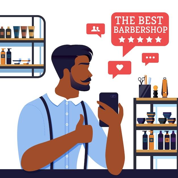 Bannière du meilleur barbier cinq étoiles du client, Vecteur Premium
