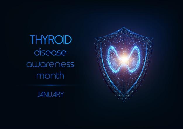 Bannière Du Mois De Sensibilisation Aux Maladies Thyroïdiennes Avec Glande Thyroïde Et Bouclier De Protection Sur Bleu Foncé. Vecteur Premium