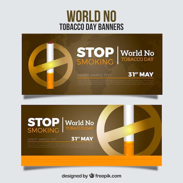 Bannière du monde aucune bannière du tabac avec signe d'interdiction Vecteur gratuit