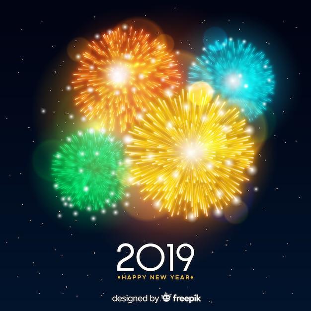 Bannière Du Nouvel An 2019 Avec Feux D'artifice Vecteur gratuit