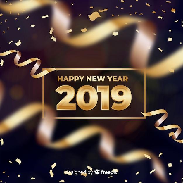 Bannière du nouvel an 2019 Vecteur gratuit