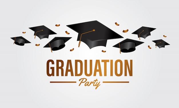 Bannière du parti éducation graduation concept avec capuchon de groupe Vecteur Premium