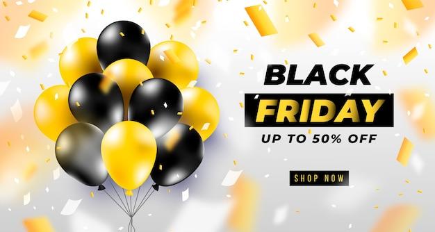 Bannière Du Vendredi Noir Avec Des Ballons Noirs Réalistes Vecteur gratuit