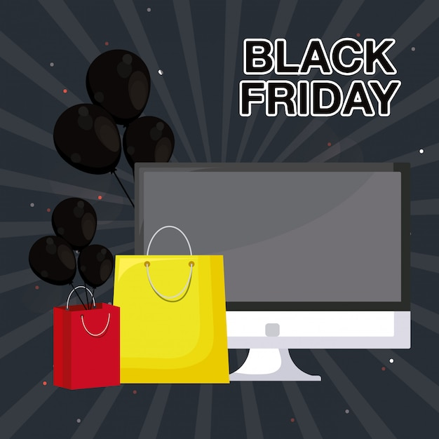 Bannière du vendredi noir avec moniteur Vecteur Premium