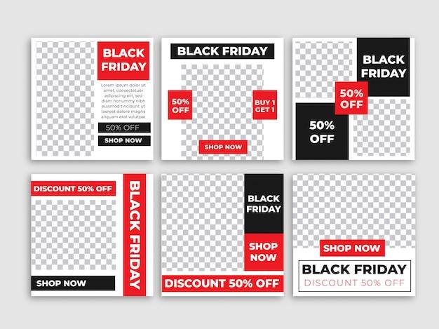 Bannière du vendredi noir pour instagram post Vecteur Premium