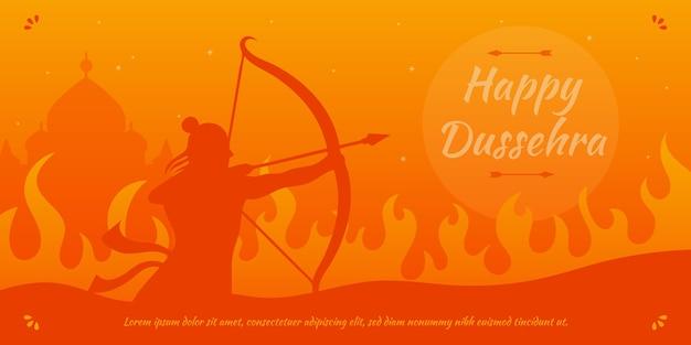 Bannière Dussehra Avec Lord Rama Vecteur Premium