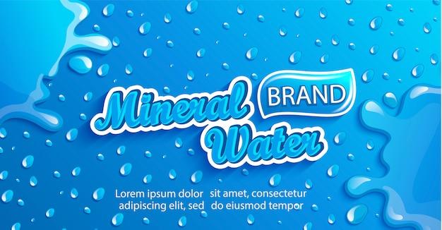 Bannière d'eau minérale fraîche avec des gouttes et des éclaboussures. Vecteur Premium