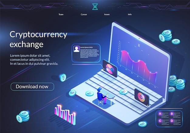 Bannière d'échange crypto-monnaie. affaires numériques. Vecteur Premium