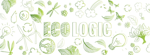 Bannière écologique doodles Vecteur Premium