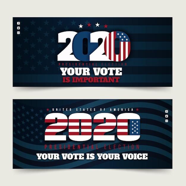 Bannière De L'élection Présidentielle Américaine 2020 Vecteur gratuit