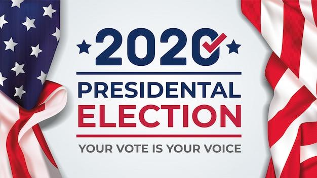 Bannière De L'élection Présidentielle Des états-unis D'amérique 2020. Bannière électorale Vote 2020 Avec Le Drapeau Américain Vecteur Premium