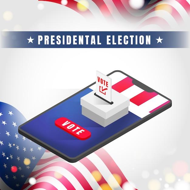 Bannière De L'élection Présidentielle Des états-unis D'amérique 2020. Vecteur Premium