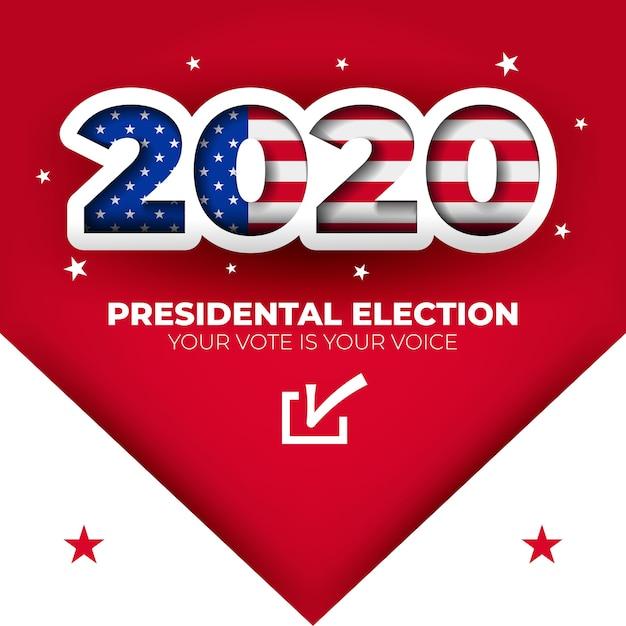 Bannière électorale Des états-unis 2020 Vecteur Premium