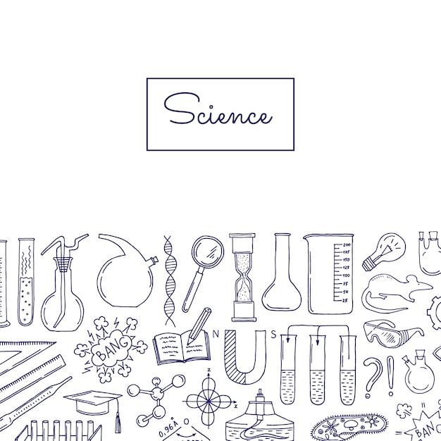 Bannière avec des éléments scientifiques ou chimiques esquissés Vecteur Premium