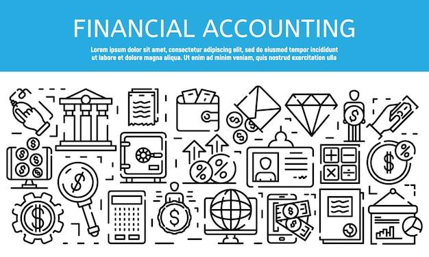 Bannière d'emploi comptable financier, style de contour Vecteur Premium