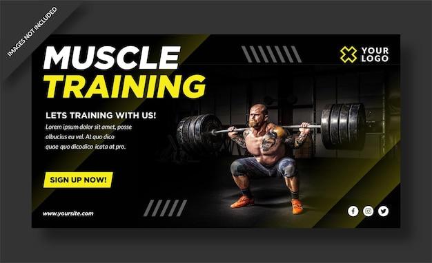 Bannière D'entraînement Musculaire Et Publication Sur Les Réseaux Sociaux Vecteur Premium