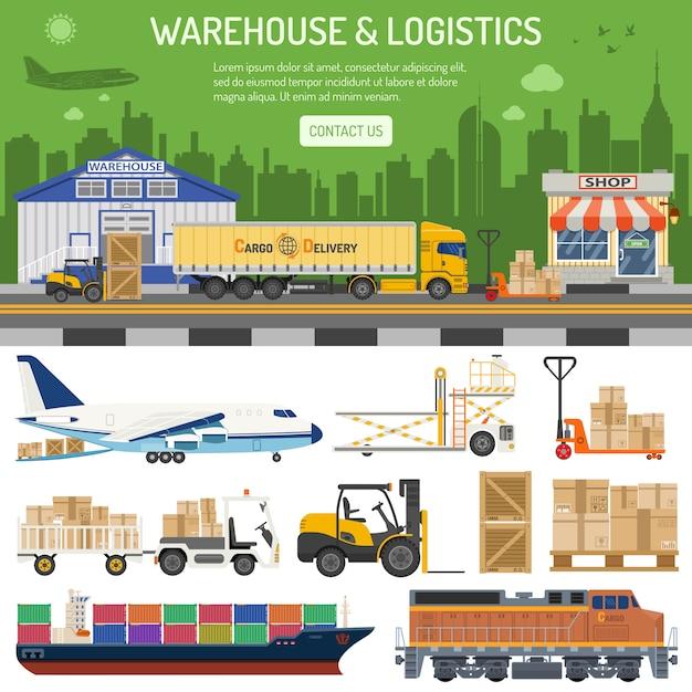 Bannière d'entrepôt et de logistique Vecteur Premium