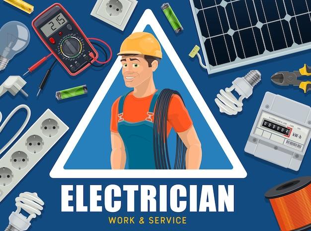 Bannière D'équipement D'électricien Et De Fourniture D'énergie. Vecteur Premium
