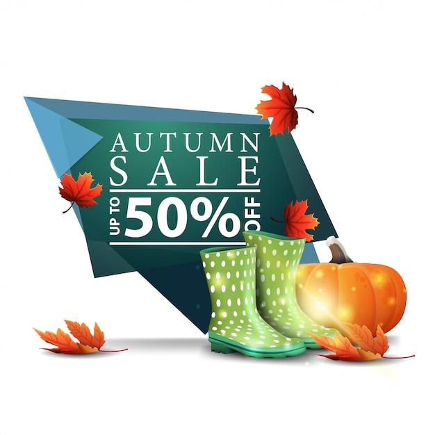 Bannière D'escompte Géométrique Vert Moderne à La Vente D'automne Avec Des Bottes En Caoutchouc Et Citrouille Vecteur Premium