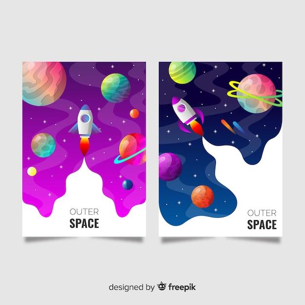 Bannière de l'espace dessiné à la main Vecteur gratuit