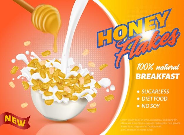 La Bannière Est écrite New Honey Flakes Realistic. Vecteur Premium