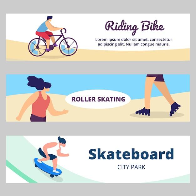 Bannière d'été avec activité sportive. jeunes gens, adolescents vélo, planche à roulettes, roller Vecteur Premium